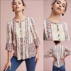 Anthropologie Maeve Floral Hiver Mini Bell Sleeve